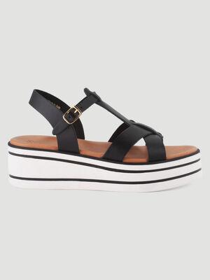 Sandales cuir talon compense raye noir fille