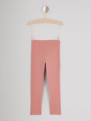 Legging coton majoritaire uni rose fille