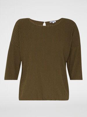 T shirt manches 34 maille gaufree vert kaki femme
