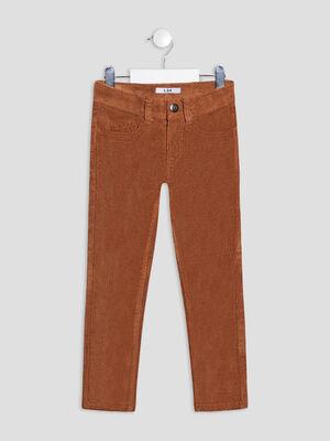 Pantalon slim velours cotele camel garcon
