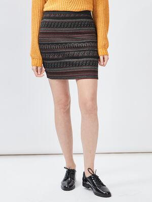 Jupe ajustee taille haute multicolore femme