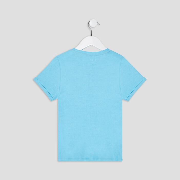 T-shirt manches courtes garçon bleu turquoise
