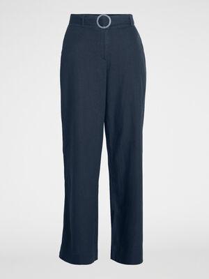 Pantalon droit uni avec ceinture bleu marine femme