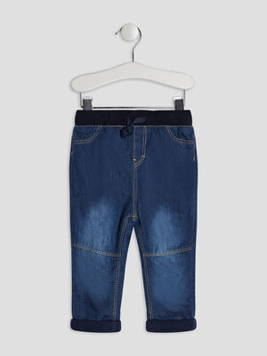 Jeans droit taille elastiquee denim brut bebeg