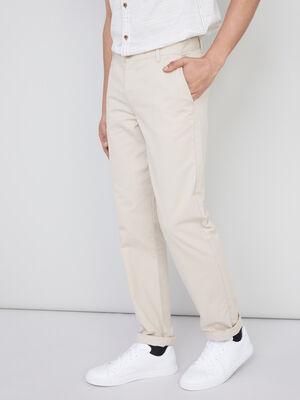 Pantalon droit uni beige homme