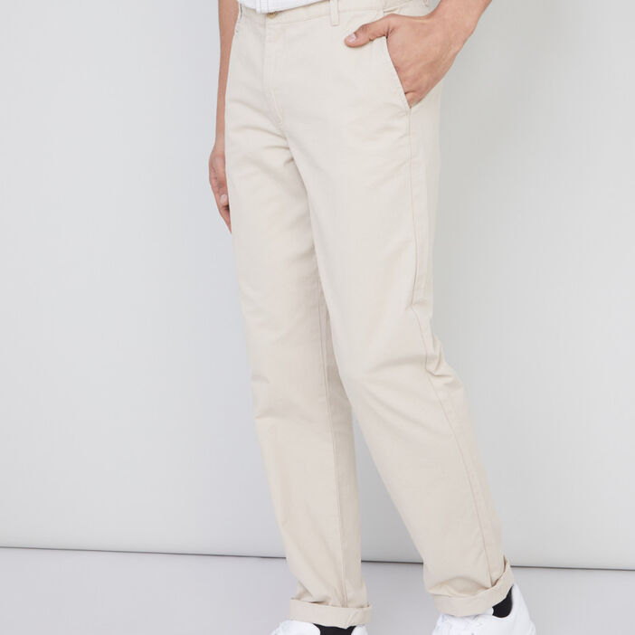 Pantalon droit uni homme beige