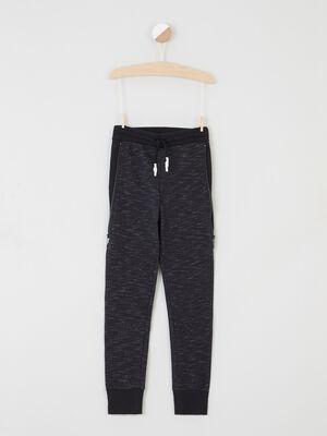 Pantalon slim a taille elastiquee gris fonce garcon
