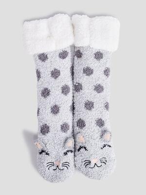 Chaussettes dinterieur gris fille