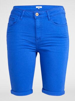 Bermuda 5 poches uni bleu roi femme