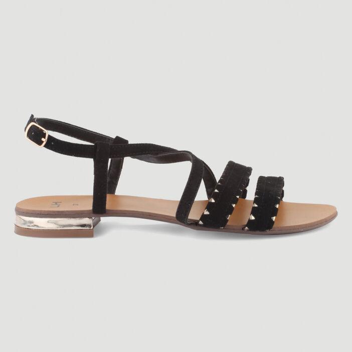 Sandales talon plat et boucle femme noir
