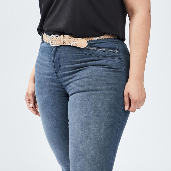 Jeans slim ceinturé femme grande taille bleu gris