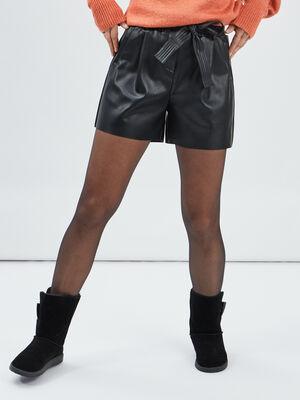 Short simili cuir paperbag noir femme