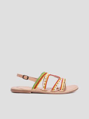 Sandales plates avec perles multicolore femme