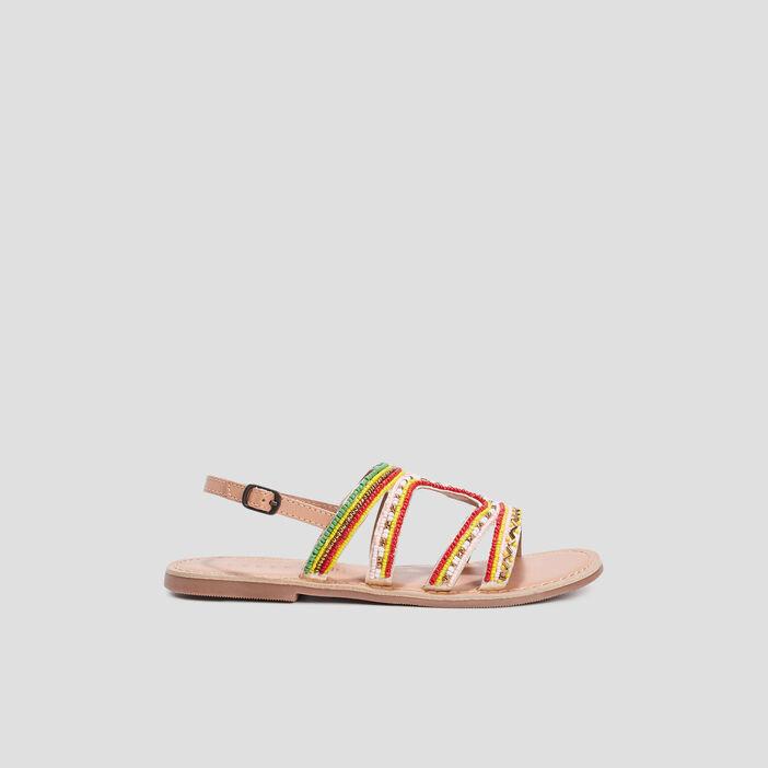 Sandales plates avec perles femme multicolore