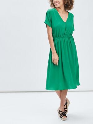 Robe midi evasee vert femme