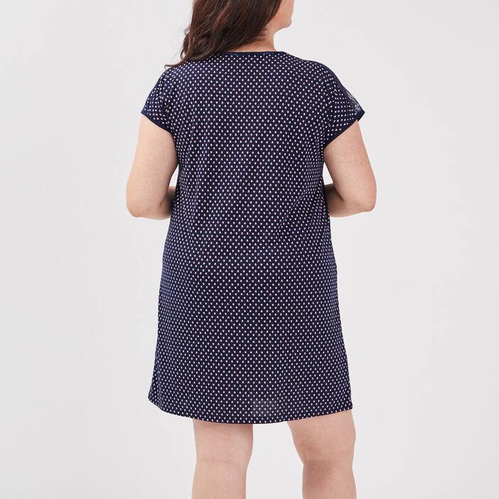 Chemise de nuit grande taille femme grande taille bleu marine
