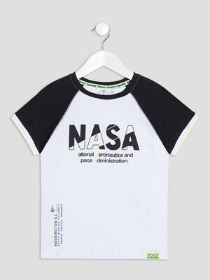 T shirt manches courtes NASA blanc garcon