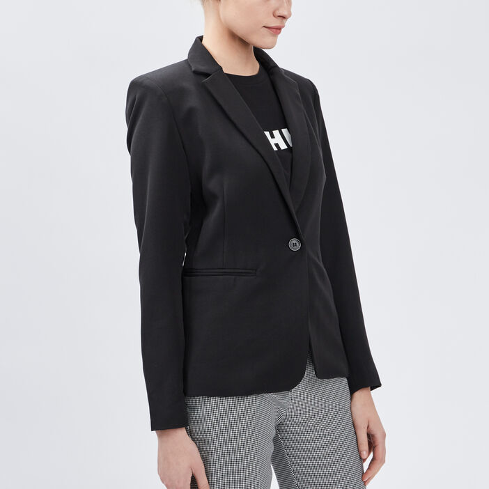 Veste droite boutonnée femme noir