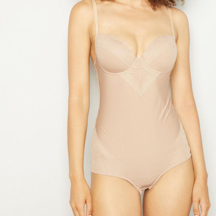 Body ventre plat uni femme beige