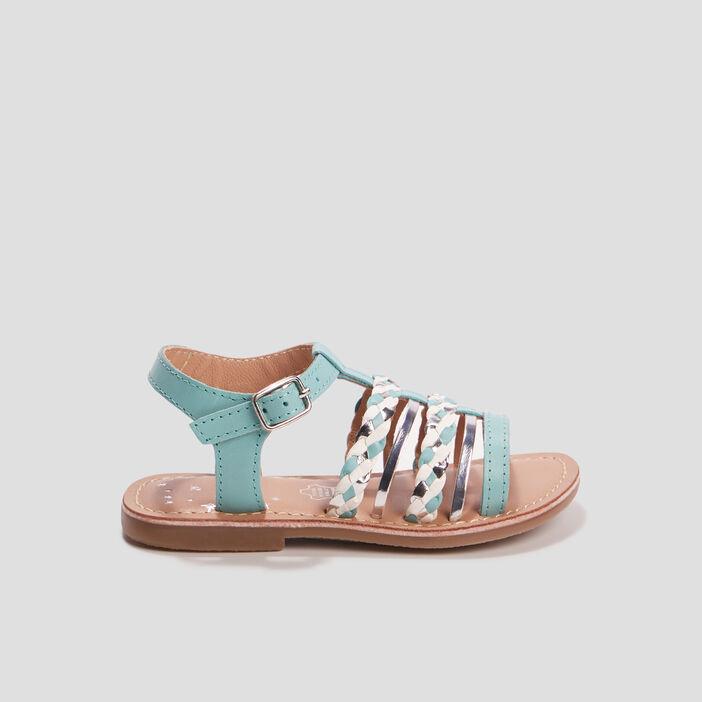 Sandales en cuir avec brides tressées fille bleu
