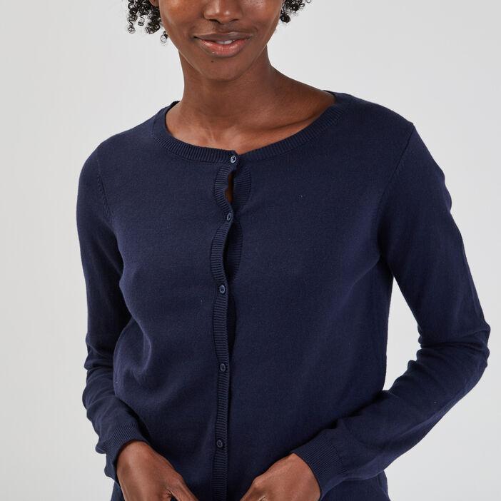 Gilet manches longues boutonné femme bleu marine