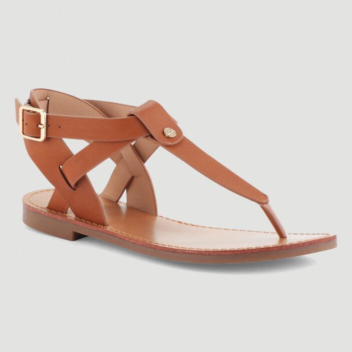 Sandales plates brides croisées femme marron