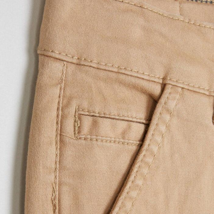 Pantalon 5 poches coton extensible garçon beige
