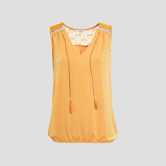 Débardeur bretelles larges femme jaune moutarde