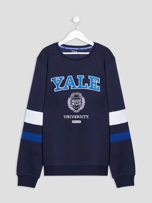 Sweat manches longues Yale bleu marine garcon