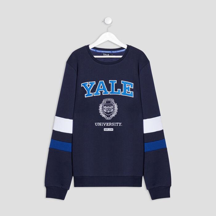 Sweat manches longues Yale garçon bleu marine