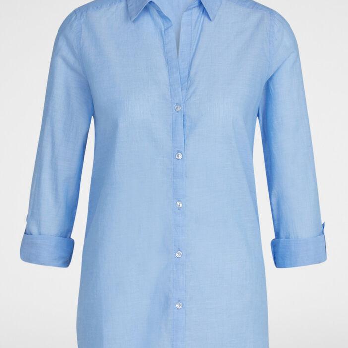 Chemise coton uni manches ajustables femme bleu