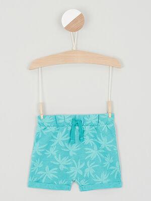 Short imprime taille elastiquee bleu turquoise garcon