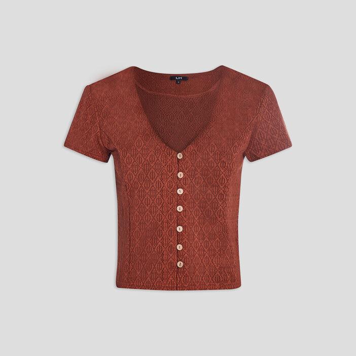 T-shirt manches courtes femme marron