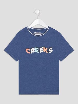 T shirt manches courtes Creeks bleu garcon