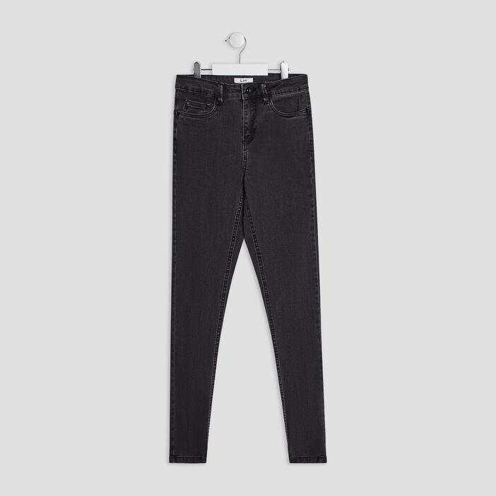 Jeans droit 5 poches fille gris foncé