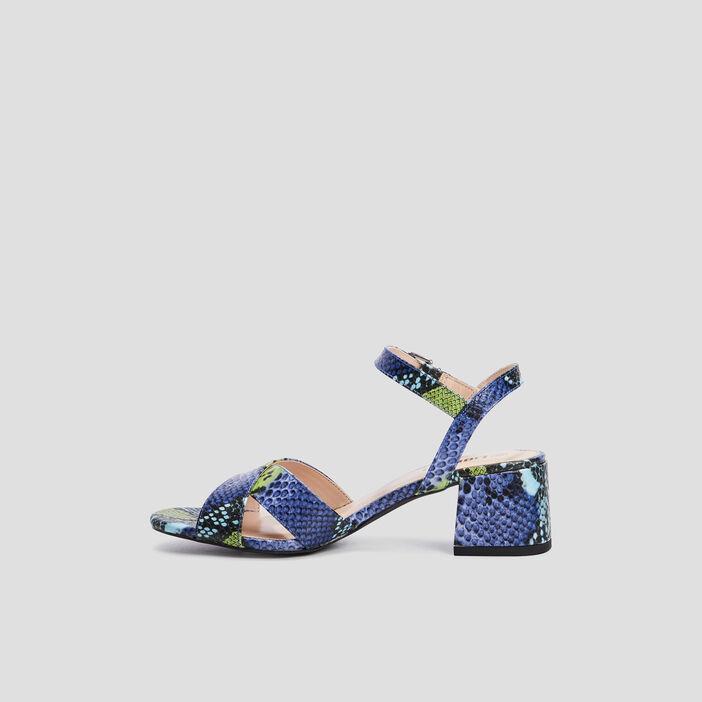 Sandales texturées à talons femme multicolore