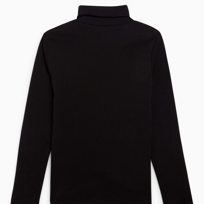 T-shirt uni manches longues garçon noir