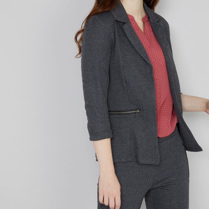 veste tailleur poches zippées femme gris foncé