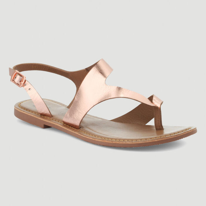 Sandales entredoigt unies en cuir femme rose