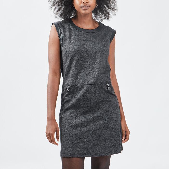 Robe trapèze sans manches femme noir
