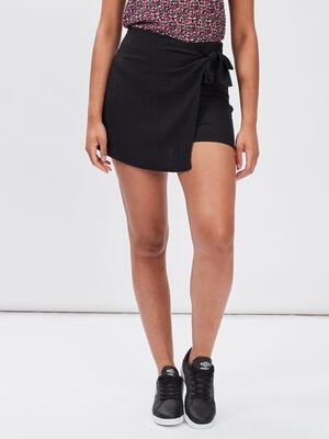 Jupe short droite avec noeud noir femme