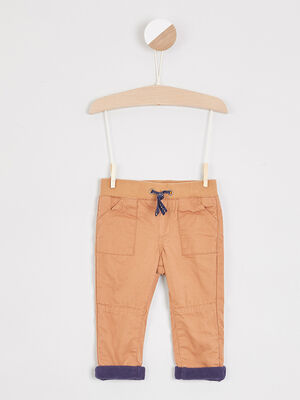 Pantalon coton uni taille elastiquee camel garcon