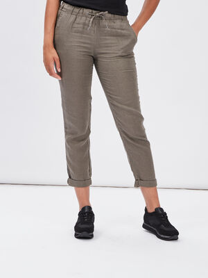 Pantalon droit fluide vert kaki femme