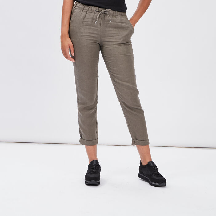 Pantalon droit fluide femme vert kaki