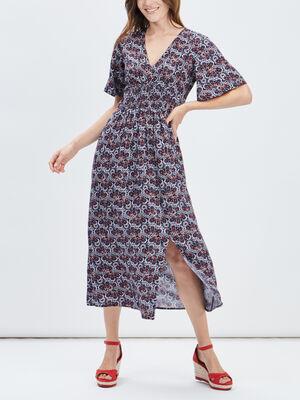Robe longue evasee fendue multicolore femme