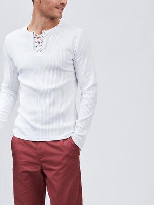 T shirt manches longues cotele blanc homme