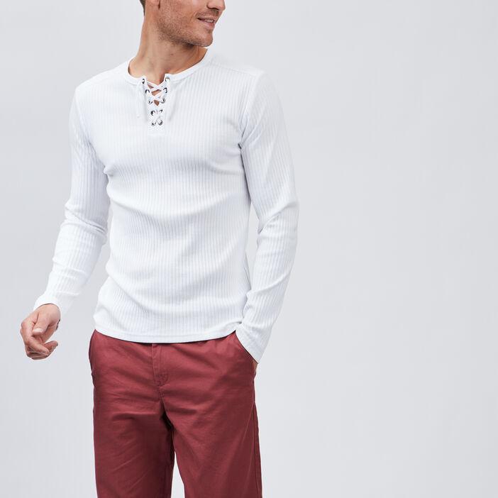 T-shirt manches longues côtelé homme blanc