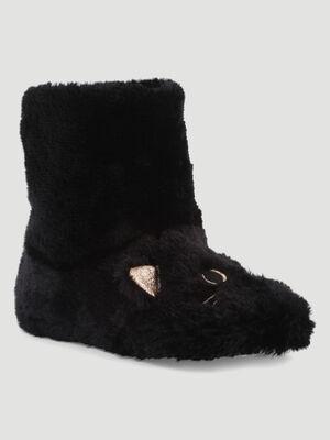 Chaussons boots chat noir mixte