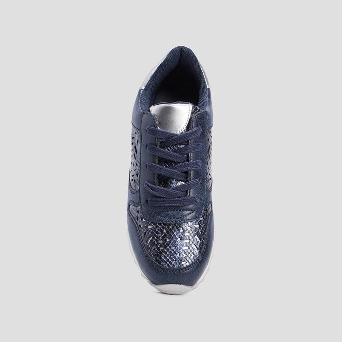 Baskets en cuir avec perforations femme bleu