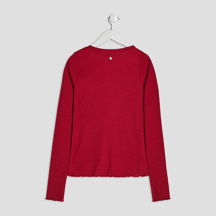 T-shirt côtelé Liberto fille rouge